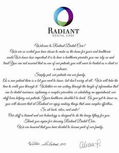 welcome to our practice at radiant dental in haslet With new dental patient welcome letter sample