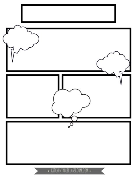 Comic Book Template Comic Book Templates Free Printable Pages The Kitchen