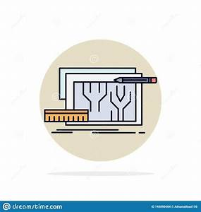Architecture, Blueprint, Circuit, Design, Engineering, Flat, Color, Icon, Vector, Stock, Vector