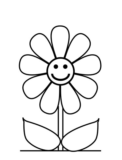 Flower Color Sheet by Simple Flower Coloring Pages Getcoloringpages