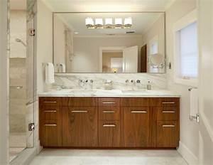 Bahtroom Large Bathroom Mirror Frames Above Wooden Vanity