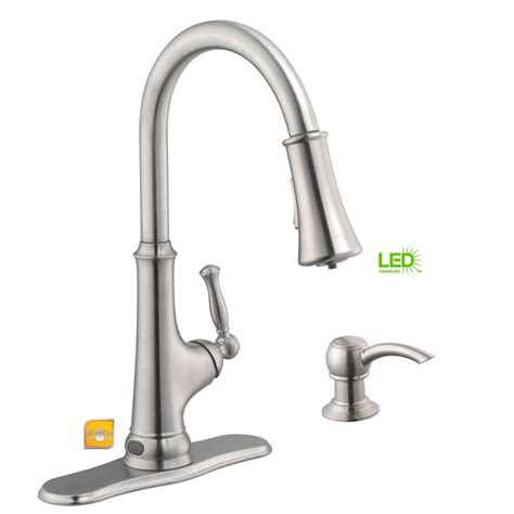 glacier bay kitchen faucets glacier bay touchless led single handle pull sprayer