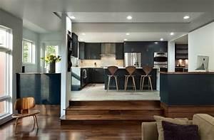 sunken kitchen kitchen contemporary with modern stainless