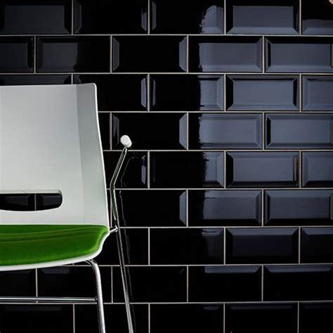 black gloss kitchen floor tiles a bevel edge black brick gloss wall tile by johnson tiles 7874