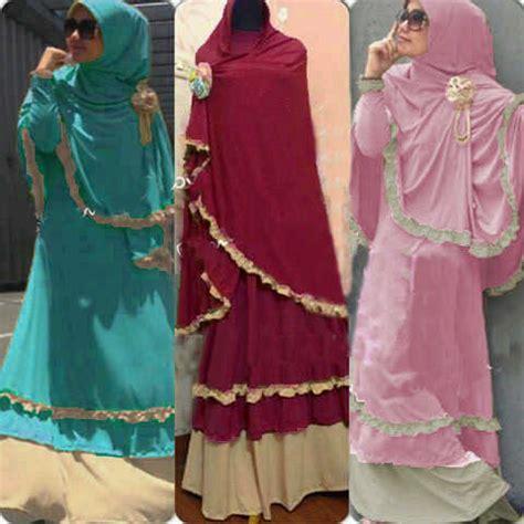3in1 maxi polka baju gamis ghumaisyah set bergo koleksi busana muslimah