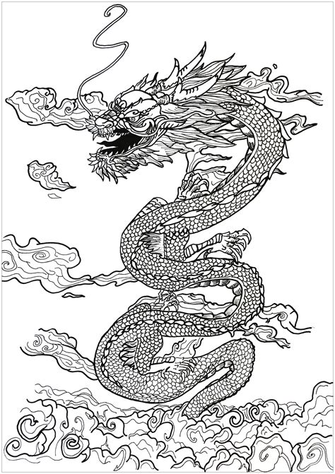 dragon asian inspiration myths legends coloring pages  adults justcolor