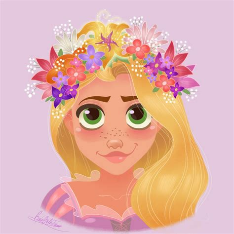 rocios art disney princesses wearing flower crowns