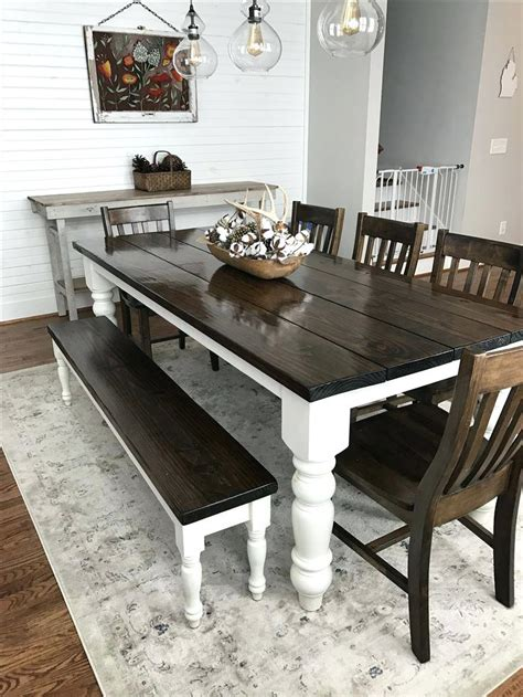 farmhouse kitchen table with bench dining table farm style dining room table with bench