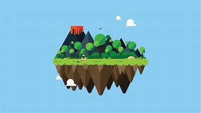 Illustrator Adobe Island Floating Lava Cartoon Minimalism