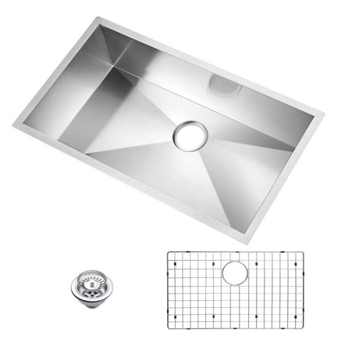 water creation undermount zero radius stainless steel