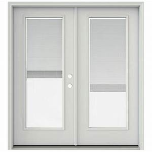 Jeld wen 72 in x 80 in primed prehung left hand inswing for Home depot patio doors with blinds