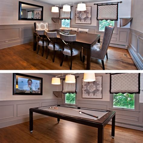 pool tables that convert to dining room tables transitional spaces transitional dining room