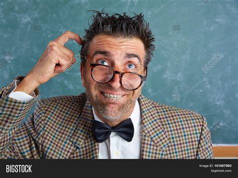 Nerd Silly Retro Teacher Man Braces Image & Photo