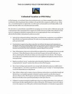 company policy manual template - unlimited vacation policy pto policy sample for
