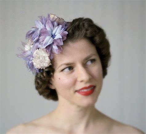 1950s Headband Hairstyle by Purple Blue Fascinator Flower Headpiece 1950s Hair