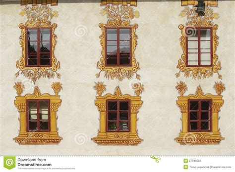 decorated castle windows stock photography image