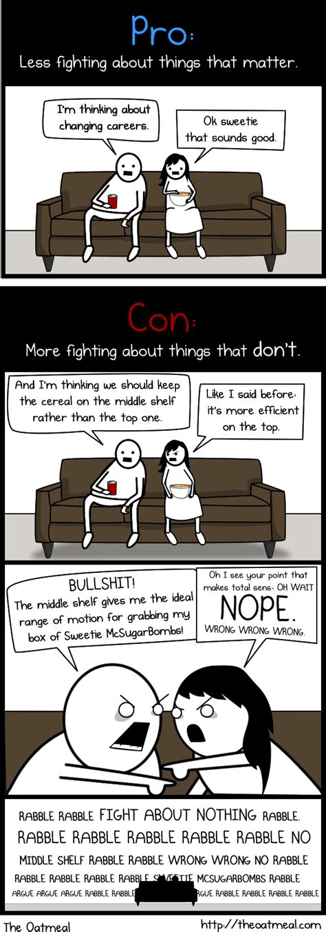 Moving In Together Meme - the pros and cons of living with your significant other the oatmeal