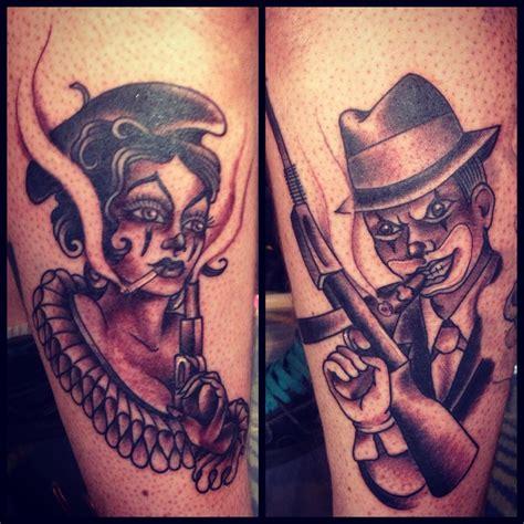 Bonnie And Clyde Tattoos By Dawn Cooke Bonnie And Clyde Tattoo Ink Tattoo Henna Tattoo Ink