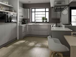 Remo, Contemporary, Curved, Gloss, Kitchen, In, Grey