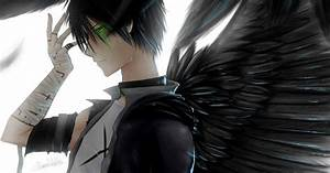 Anime art guy boy man black wings angel injured hothothot ...