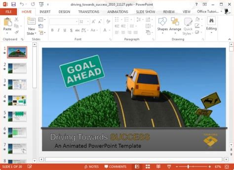 Success Powerpoint Templates Free by Driving Towards Success Powerpoint Template And