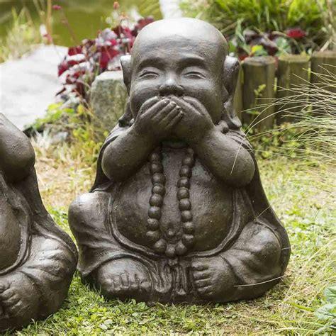 statues de bouddha sagesse patine brun antique  cm