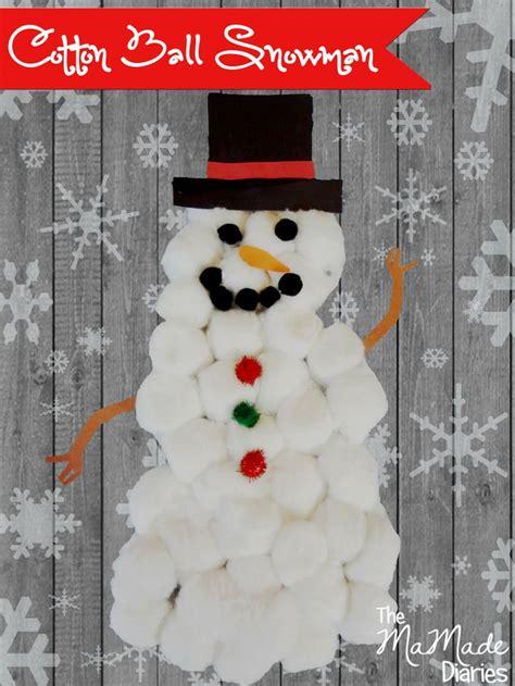 cotton ball snowman craft  kids christmas stuff