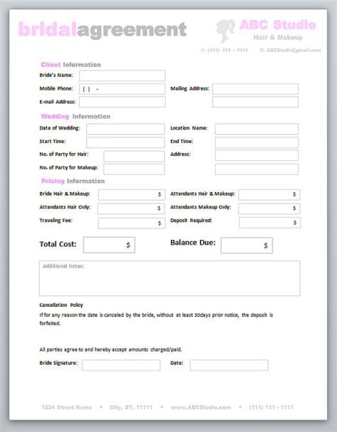 makeup artist contract form hair stylist makeup artist bridal agreement contract
