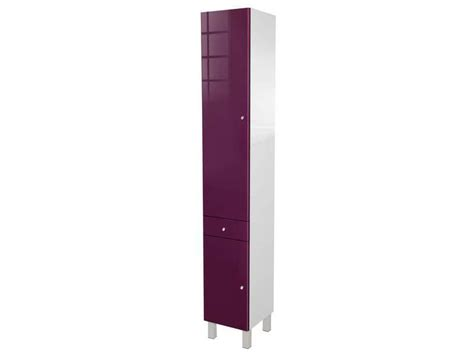 colonne de salle de bain 2 portes 1 tiroir soramena coloris aubergine chez conforama