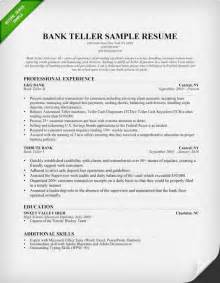 resume for banks bank teller resume sle writing tips resume genius