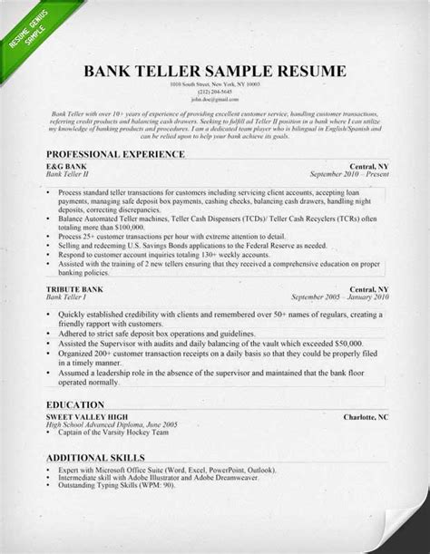 Exle Of Resume To Apply by Bank Teller Description For Resume