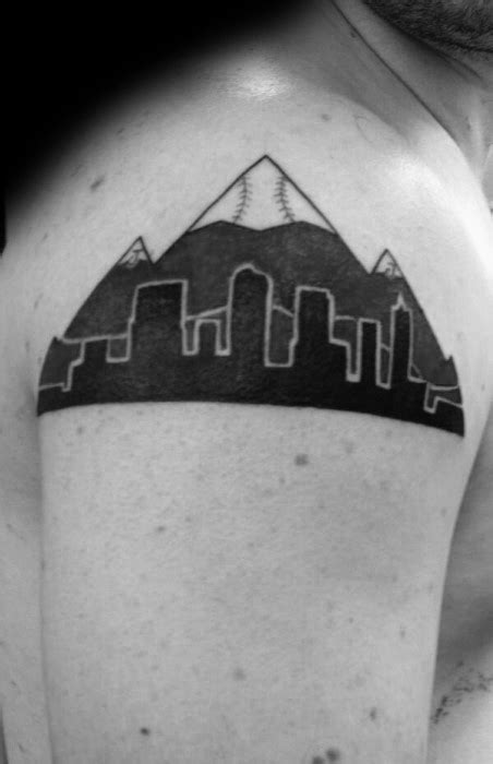 20 Denver Skyline Tattoo Designs For Men - Colorado Ink Ideas