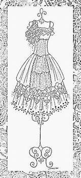 Coloring Adult Pages Dress Books Dresses Embroidery Adults Drawing Corset Form Short Gown Sketches Mannequin Supplies Clip Colouring Jennelise Victorian sketch template