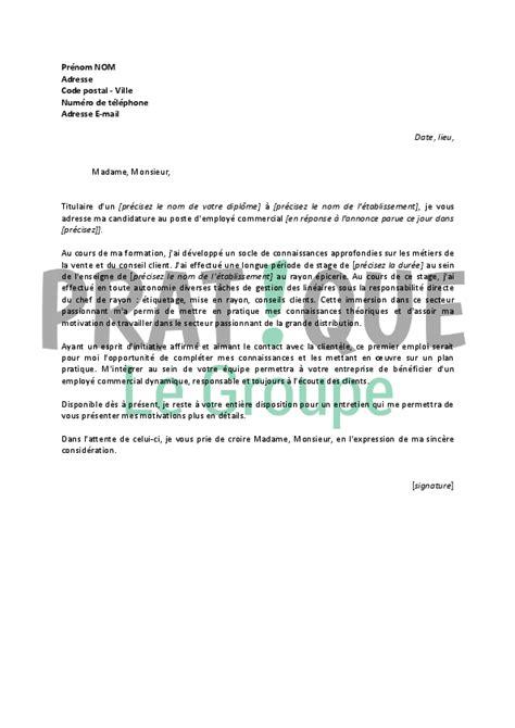 lettre de motivation pour un poste d employ 233 commercial