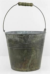 Galvanized, Flower, Bucket, With, Wood, Handle, 8in