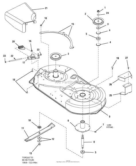 murray mower deck diagram murray 2690514 107 277680 zts 7500 19hp b s w 42