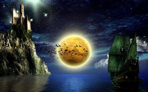 Big moon on the sea - fantasy HD wallpaper in the night