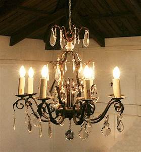 Chandelier extraordinary wrought iron and crystal
