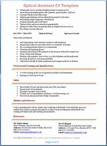 optical assistant cv example 2 With cover letter for optical assistant