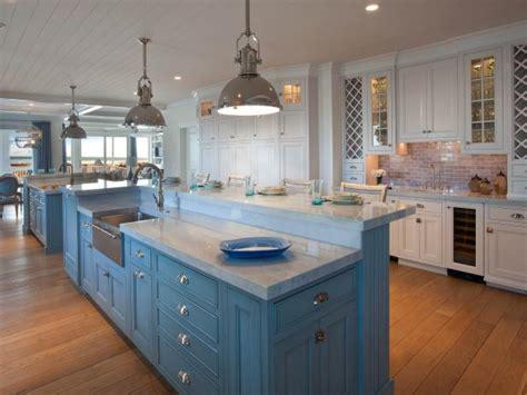 white coastal kitchen  large blue island hgtv