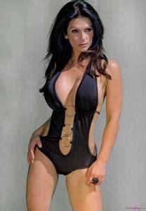 aislinn paul swimsuit denise milani baring her curves in black bikini denise