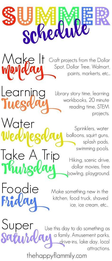 weekly summer schedule kids schedule summer