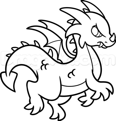 How To Draw A Simple Dragon, Step By Step, Dragons, Draw A