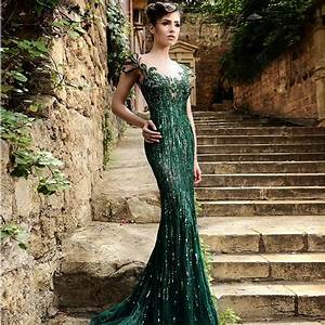 2017 sexy dark green lace mermaid evening dress vintage With robe de soirée luxe
