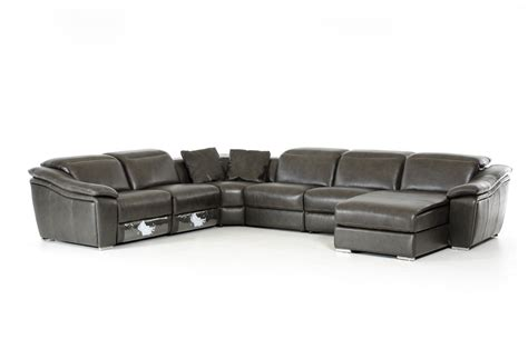 Leather Theater Sofa by Divani Casa Jasper Modern Dark Grey Leather Sectional Sofa