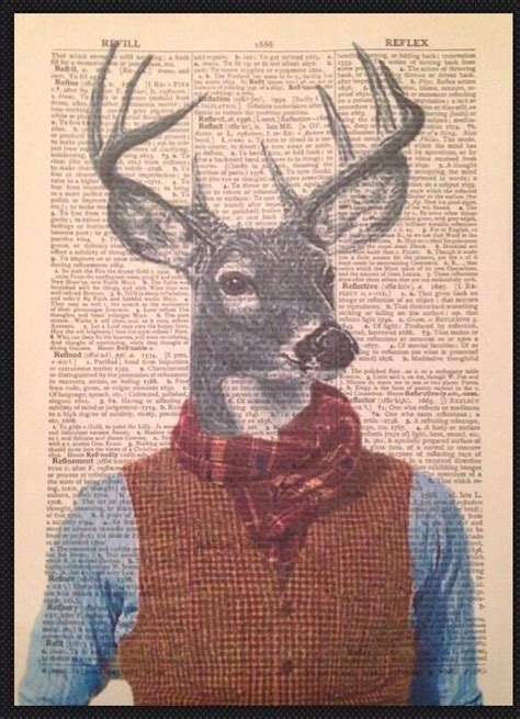 vintage stag head deer print dictionary page wall art