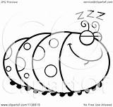 Coloring Caterpillar Cartoon Inchworm Sleeping Outlined Clipart Pages Getcolorings Vector Thoman Cory Printable Elegant sketch template