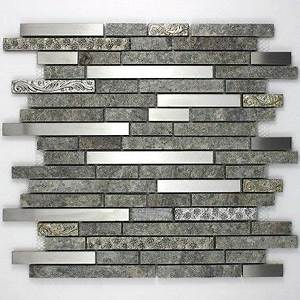 mosaique carrelage pierre et inox 1 plaque radus credence With carrelage adhesif salle de bain avec suspension led noir
