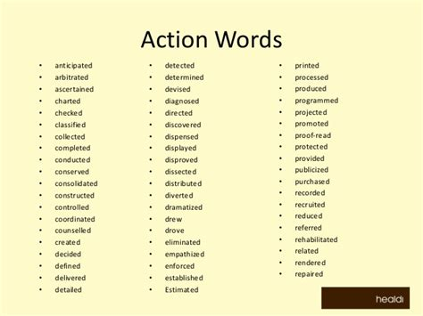 doc 13001029 verbs resumes resume verbs word list