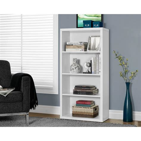 White Backless Bookcase by Monarch Specialties White Adjustable Open Bookcase I 7059